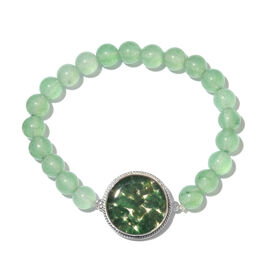 One Time Deal- Green Aventurine (Ball) Stretchable Bracelet (Size 7.5) in Platinum Plated