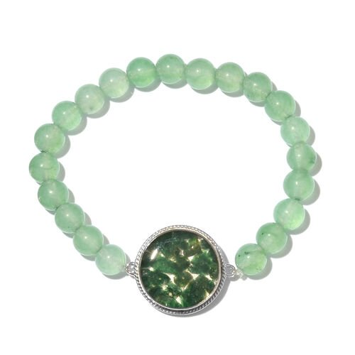 One Time Deal- Green Aventurine (Ball) Streachable Bracelet (Size 7.5) in Platinum Plated
