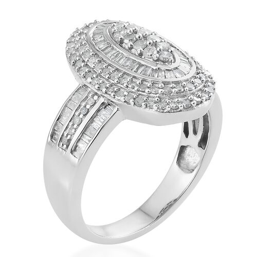 Diamond (Rnd) Cluster Ring in Platinum Overlay Sterling Silver 1.325 Ct. Silver wt 6.98 Gms. Number of Diamonds 164