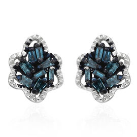 Blue Diamond (Bgt) Stud Earrings (With Push Back) in Blue and Platinum Overlay Sterling Silver