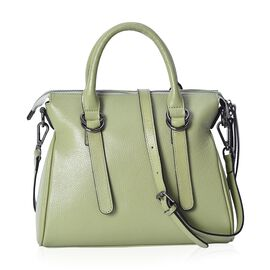 Super Soft 100% Genuine Leather Green Colour Bag with External Zipper Pocket and Removable Shoulder