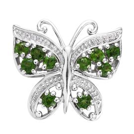 Designer Inspired - Russian Diopside (Rnd), Natural Cambodian Zircon Butterfly Pendant in Platinum O