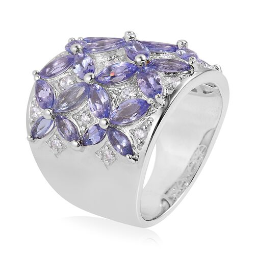 Tanzanite (Mrq), Natural White Cambodian Zircon Flower Ring in Rhodium Plated Sterling Silver 5.540 Ct. Silver wt 12.82 Gms.