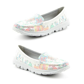 Heavenly Feet Sunflower Slip On Loafer in White and Silver