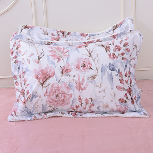 4 Piece Set - Serenity Night Off-white with Multi Colour Floral Print Comforter (220x225cm), Fitted Sheet (140x190+30cm) and Pillow Covers (2 Pcs - 50x70+5cm) - DOUBLE