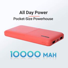 10000mAh Portable and Super Slim Power Bank with Dual USB Output - Red