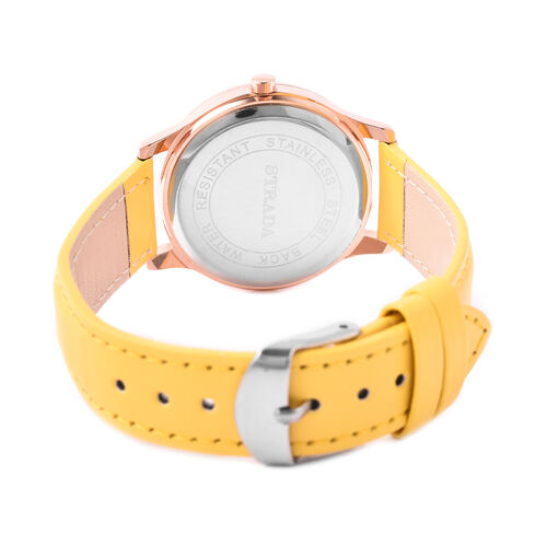 STRADA Japanese Movement White Austrian Crystal Studded Flower Bee Dial Water Resistant Watch with Yellow Colour Strap