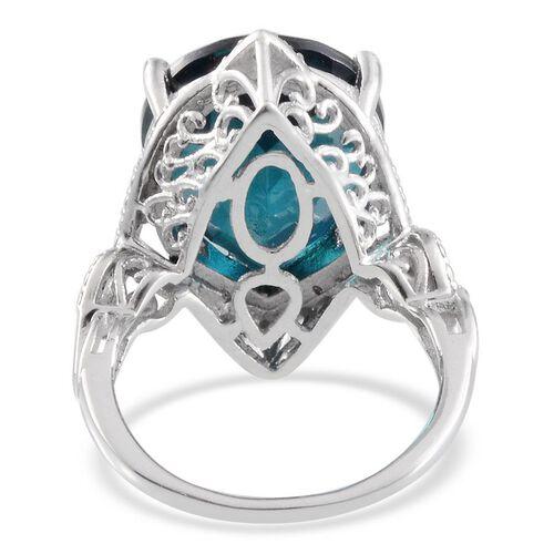 Indicolite Quartz (Pear 14.00 Ct), Diamond Ring in Platinum Overlay Sterling Silver 14.020 Ct.