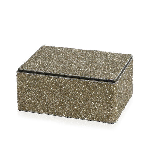 Home Decor - Silver Colour Seed Beaded Handmade Box (Size 18x12.5x7.5 Cm)
