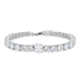 One Time Deal- Cubic Zirconia (Ovl  9x7 mm and Rnd) Bracelet (Size 7 with 1 inch Extender) in Silver
