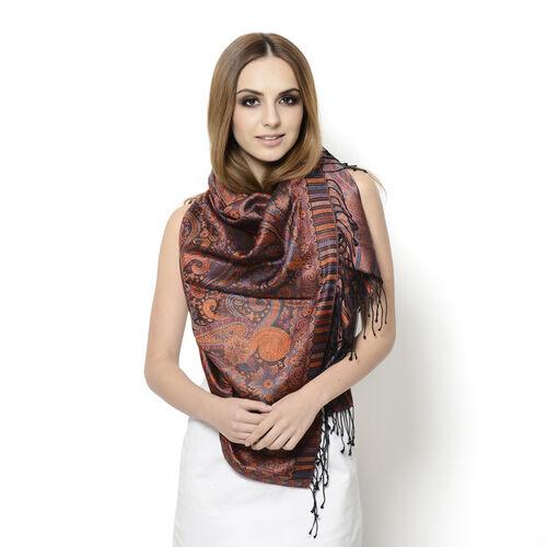 100% Superfine Silk Filigree Pattern Burnt Orange and Multi Colour Jacquard Jamawar Scarf with Fring