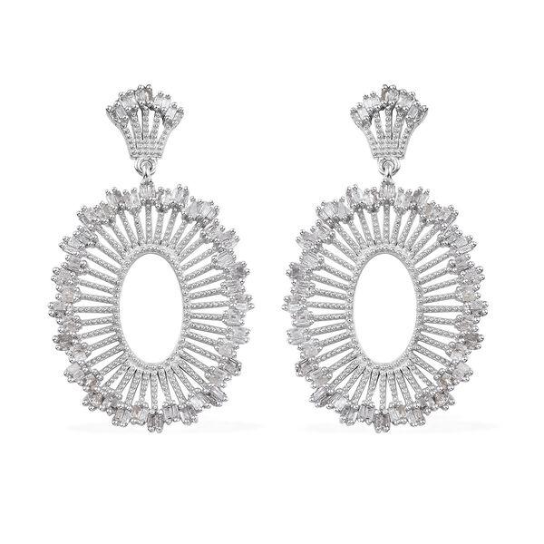 1 Carat Diamond Cluster Drop Earrings in Platinum Plated Silver 7.30 Grams