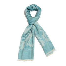 100% Modal Scarf-Turquoise and Silver Colour Flower Pattern Jacquard Scarf (Size 190x70 Cm)