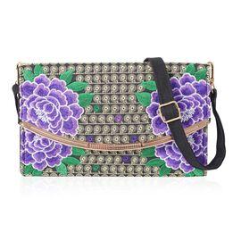 Purple and Multicolour Floral Pattern Crossbody Bag (Size 25x6x14 Cm) with Detachable Shoulder Strap