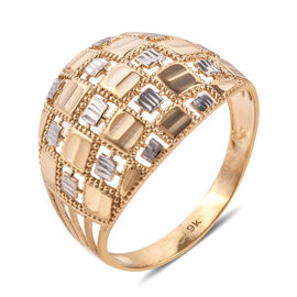 Royal Bali Collection 9K Yellow and White Gold Diamond Cut Checker Pattern Ring - Gold Wt - 2.64 Gms