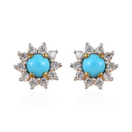 Arizona Sleeping Beauty Turquoise (Rnd), Natural Cambodian Zircon Earrings (with Push Back) in 14K G