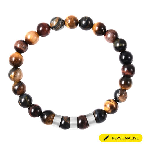 Personalise Engravable Multi Color Tiger's Eye Beads Stretchable Bracelet, Stainless Steel