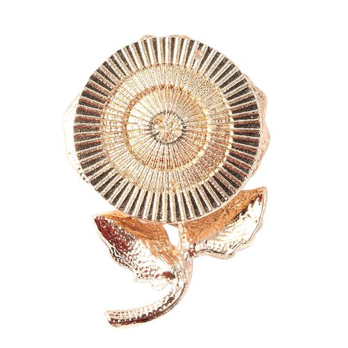 White Austrian Crystal (Rnd) Enamelled Poppy Floral Magnetic Brooch in Gold Tone