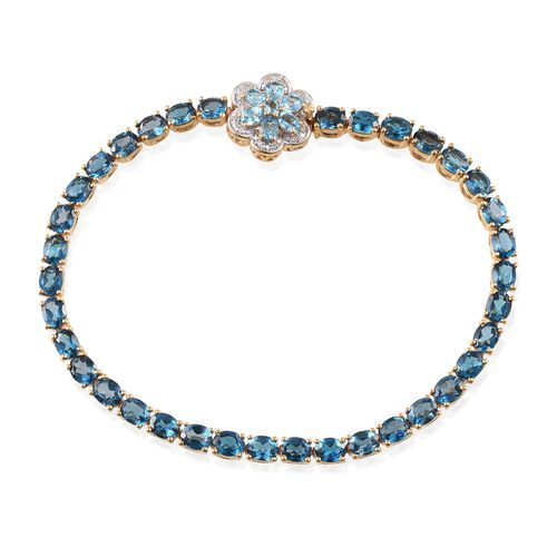London Blue Topaz (Ovl), Electric Swiss Blue Topaz and Diamond Floral Bracelet (Size 8) in 14K Gold Overlay Sterling Silver 14.150 Ct.