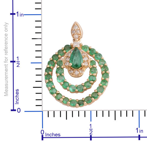 New York Close Out - 14K Yellow Gold AAA Premium Santa Terezinha Emerald (Pear and Rnd), Diamond (I1-I2/G-H) Earrings (with Push Back) 1.730 Ct.