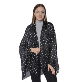 LA MAREY New Collection - 100% Mulberry Silk Polka Dot Print Scarf (Size 180x110cm) - Black and Whit