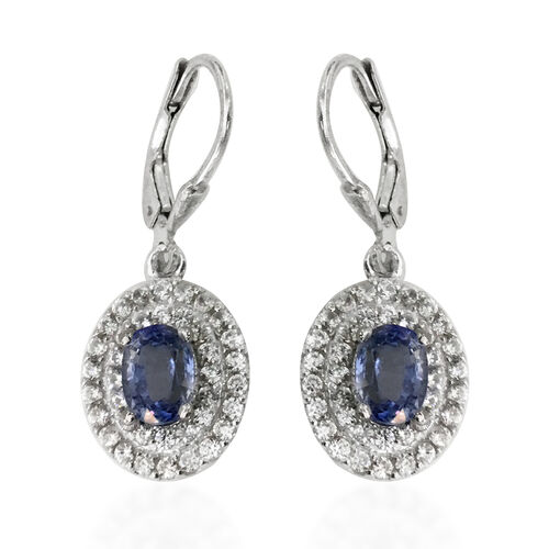 Signature Collection - Extremely Rare Size Ceylon Sapphire (Ovl 2.10 Ct), Natural Zircon Double Halo Earrings (with Lever Back) in Rhodium Overlay Sterling Silver 3.740 Ct.