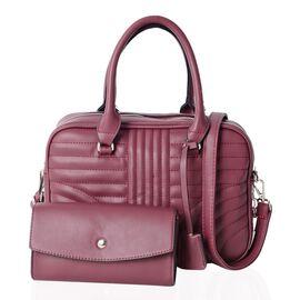 Set of 2 Burgundy Colour Handbag with Handle Drop Shoulder Strap (Size 28.5x7x20.5)
