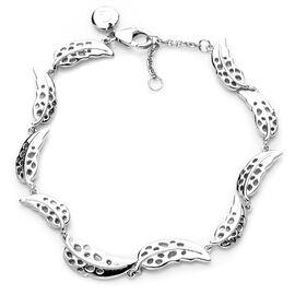 RACHEL GALLEY Rhodium Overlay Sterling Silver Plume Bracelet (Size 8), Silver wt 11.8 Gms.