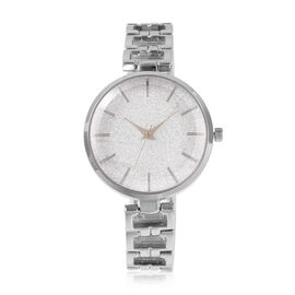 STRADA Stellar Japanese Movement Water Resistant White Stardust Metal Bracelet Watch in Stainless St