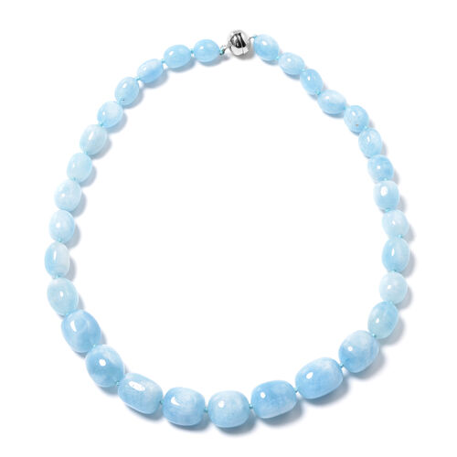 Limited Edition- Sao Domingos Aquamarine Necklace (Size 20) with Magnetic Lock in Rhodium Overlay St