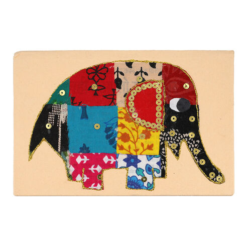 4 Piece Set - Two Elephant Design Handmade Paper Diary (100 Pages) and Two Beaded Pen - Ivory, Blue and Multi