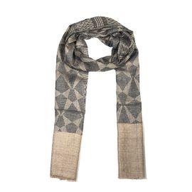 100% Cashmere Wool Geometric Pattern Scarf (Size 70x200 Cm) - Grey