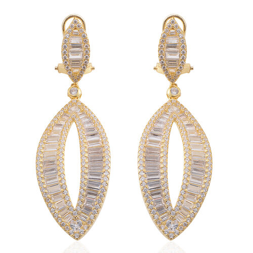 Brilliant Cut ELANZA AAA Simulated Diamond Earrings (with French Clip) in 14K Gold Overlay Sterling Silver.Silver Wt 15.00 Gms Number of Simulated White Diamonds 346