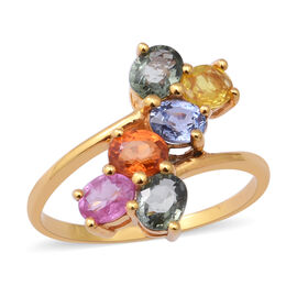 Rainbow Sapphire Bypass Ring in Yellow Gold Overlay Sterling Silver 2.74 Ct.