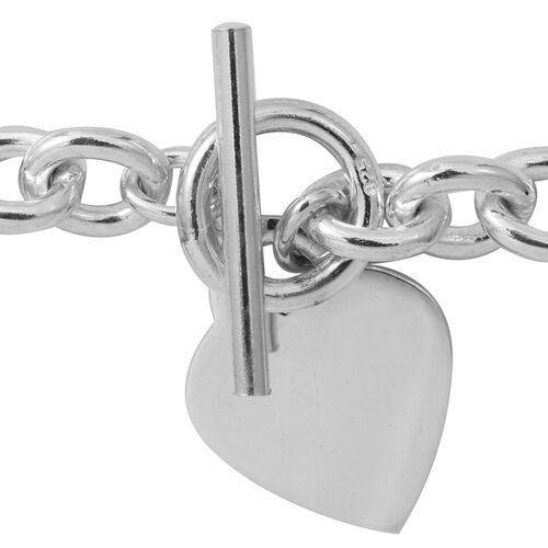 Designer Inspired- Sterling Silver Oval Belcher Necklace (Size 17.5) with Heart Charm and T Lock, Silver wt 84.44 Gms.