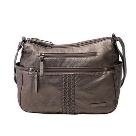 Multi Pocket Crossbody Bag with Zipper Closure and Adjustable Shoulder Strap (Size 30x20x11cm) - Grey