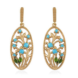 Arizona Sleeping Beauty Turquoise (Rnd), Russian Diopside Leaf Vine Earrings (with Push Back) in 14K