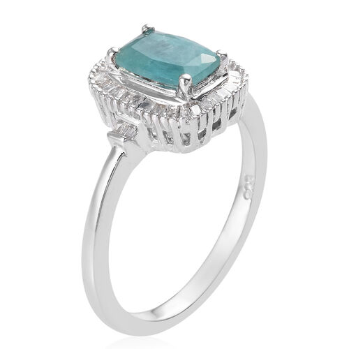 Grandidierite and Diamond Ring in Platinum Overlay Sterling Silver 1.03 Ct.