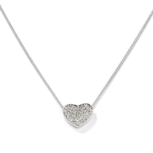 ETERNITY Crystal from Swarovski Heart Necklace (Size 18 with 2 inch Extender) in Silver Tone