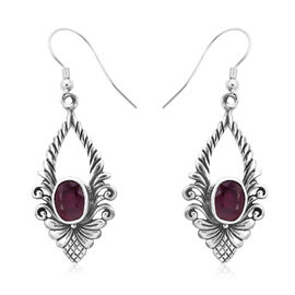 Royal Bali Collection - African Ruby (Ovl) Floral Hook Earrings in Sterling Silver 2.80 Ct.