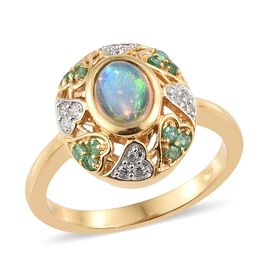 Ethiopian Welo Opal (Ovl), Kagem Zambian Emerald and Natural Cambodian Zircon Ring in 14K Gold Overlay Sterling Silver 1.150 Ct.