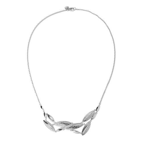 RACHEL GALLEY Leaf Collection - Rhodium Overlay Sterling Silver Lattice Leaf Necklace (Size 20), Sil