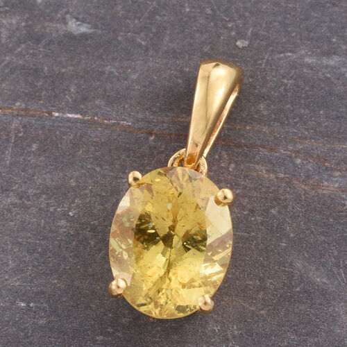 Very Rare Golden Honey Apatite (Ovl) Solitaire Pendant in 14K Gold Overlay Sterling Silver 2.500 Ct.