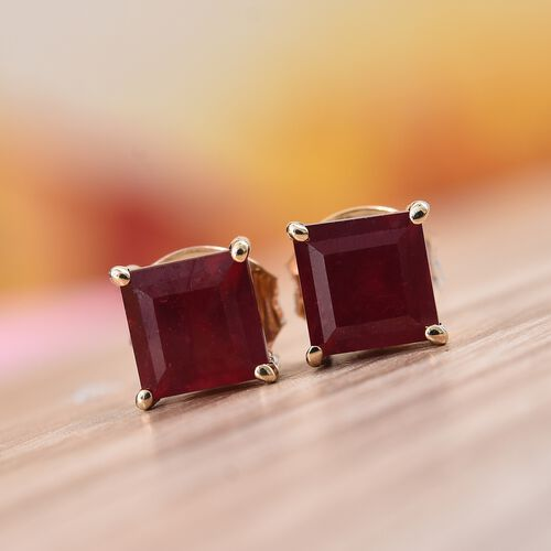 9K Yellow Gold AA African Ruby (Sqr) Stud Earrings (with Push Back) 2.30 Ct.