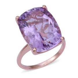 18.93 Ct Rose De France Amethyst Solitaire Ring in Sterling Silver 4.8 Grams
