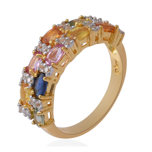Rainbow Sapphire and Natural Cambodian Zircon Ring in Two Tone Overlay Sterling Silver 3.25 Ct.