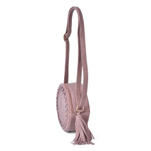 Light Mauve Colour Canteen Crossbody Bag with Long Tassels and Adjustable Shoulder Strap (Size 19x19x8 Cm)