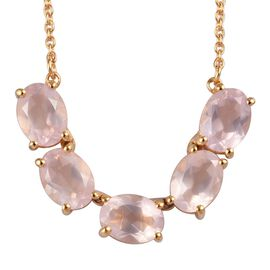 Rose Quartz Necklace (Size 18) in 14K Gold Overlay Sterling Silver 5.75 Ct.