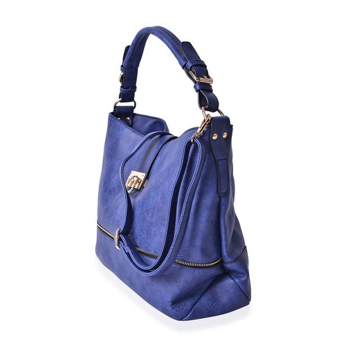 Blue Colour Tote Bag with External Zipper Pocket and Adjustable and Removable Shoulder Strap (Size 36x28x15 Cm)