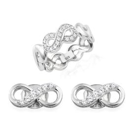 J Francis - Made with SWAROVSKI ZIRCONIA Infinity Band Ring and Stud Earrings Set in Platinum Plated Silver